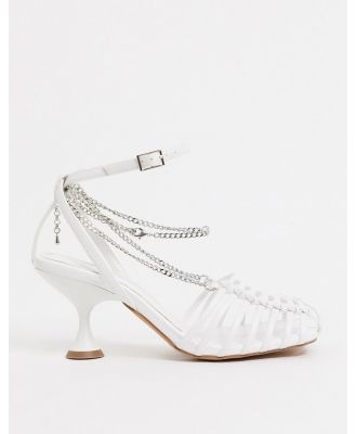 ASOS DESIGN Smith caged mid heels with chain in white