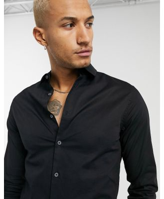ASOS DESIGN stretch skinny fit shirt in black