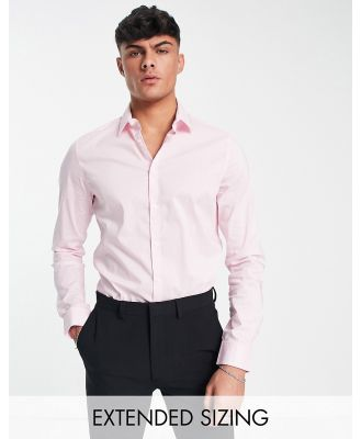 ASOS DESIGN stretch slim fit work shirt in pink