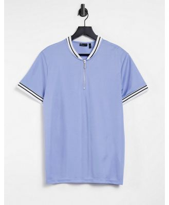 ASOS DESIGN t-shirt in light blue with baseball collar and tipping