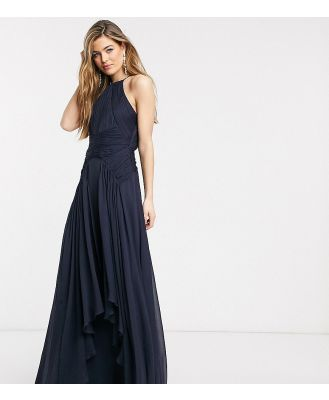 ASOS DESIGN Tall Bridesmaid pinny maxi dress with ruched bodice and layered skirt detail-Navy