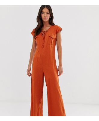 ASOS DESIGN Tall casual jumpsuit with lace up detail-Orange