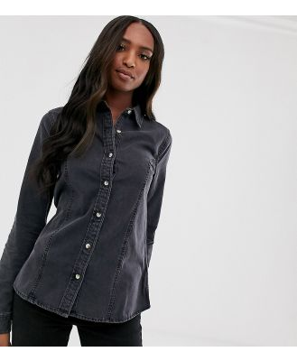 ASOS DESIGN Tall Denim fitted western shirt in washed black