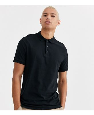 ASOS DESIGN Tall jersey polo in black
