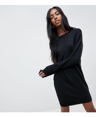 ASOS DESIGN Tall jumper dress with scoop back in eco yarn-Black