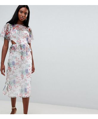 ASOS DESIGN Tall midi mesh tea dress in floral print with cut out detail-Multi
