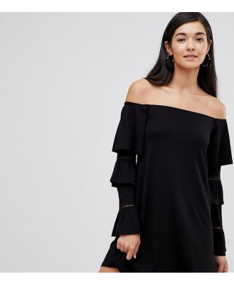 ASOS DESIGN Tall off shoulder mini dress with frill sleeve detail-Black