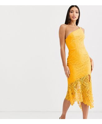 ASOS DESIGN Tall one shoulder grid lace midi dress-Yellow