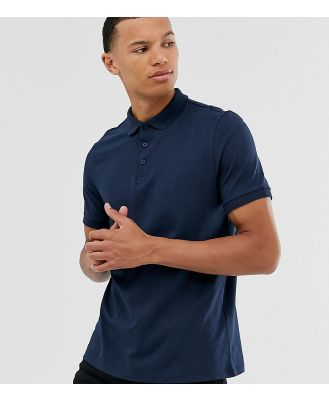 ASOS DESIGN Tall organic jersey polo t in navy