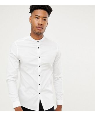ASOS DESIGN Tall slim shirt with grandad collar & contrast buttons-White