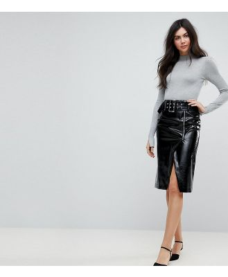ASOS DESIGN Tall vinyl pencil skirt with belt detail-Black