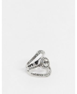 ASOS DESIGN triple ring with clear crystal stone in silver tone