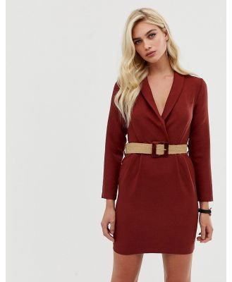 ASOS DESIGN tux mini dress with natural buckle belt - Red