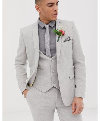ASOS DESIGN wedding skinny suit jacket in ice grey twill