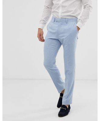 ASOS DESIGN wedding skinny suit pants in blue cross hatch
