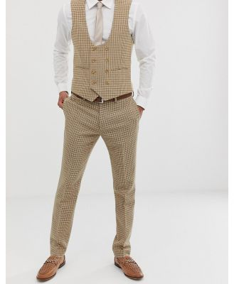 ASOS DESIGN wedding skinny suit pants in stone micro check-Neutral