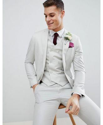 ASOS DESIGN wedding slim suit jacket in ice grey 100% wool