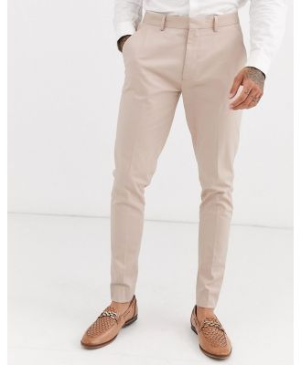 ASOS DESIGN wedding super skinny suit pants in stone stretch cotton-Neutral