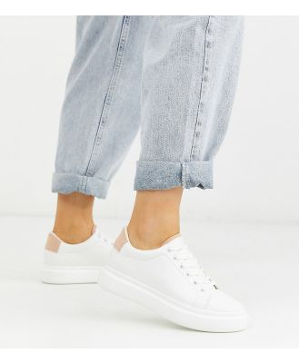 ASOS DESIGN Wide Fit Doro chunky lace up sneakers in white and beige-Multi