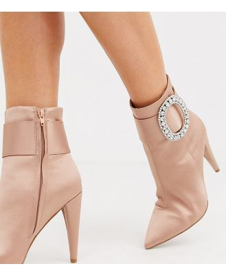 ASOS DESIGN Wide Fit Eclectic diamante buckle boots in pink