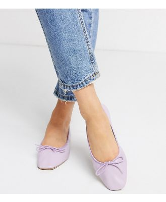ASOS DESIGN Wide Fit Layer leather bow ballet flats in lilac-Purple