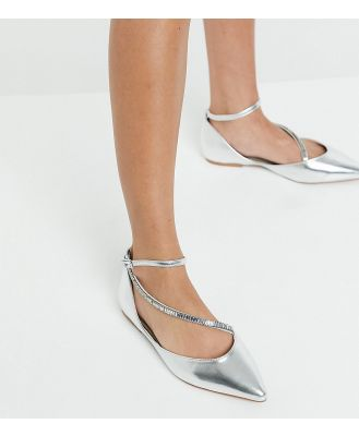 ASOS DESIGN Wide Fit Leap embellished pointed ballet flats in silver