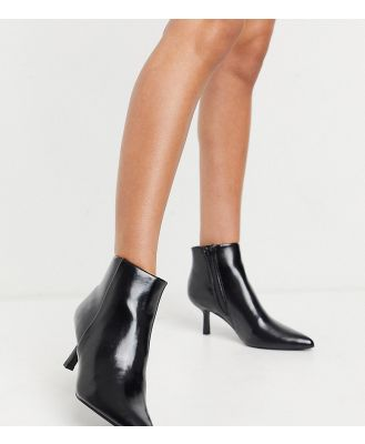 ASOS DESIGN Wide Fit Reunite pointed boots with interest heel in black