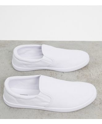 ASOS DESIGN Wide Fit slip on plimsolls in white canvas