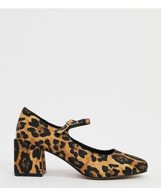 ASOS DESIGN Wide Fit Willing mary-jane block heels in leopard-Multi