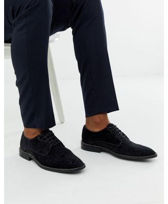 ASOS EDITION derby shoes in black jacquard with chain sole