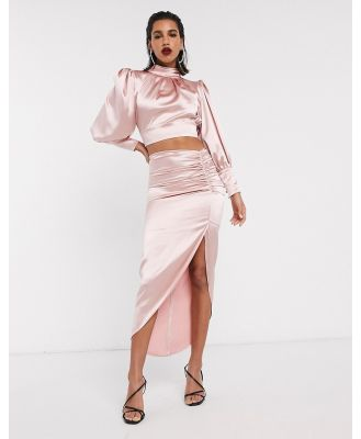 ASOS EDITION satin midi skirt with ruched detail-Pink