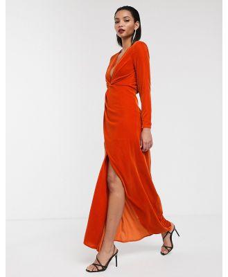 ASOS EDITION split side plunge maxi dress in velvet-Pink