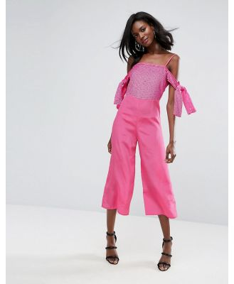 ASOS Embellished Cold Shoulder Jumpsuit-Pink