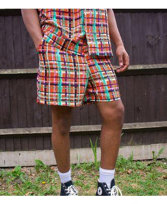 ASOS MADE IN KENYA check print shorts co-ord-Red