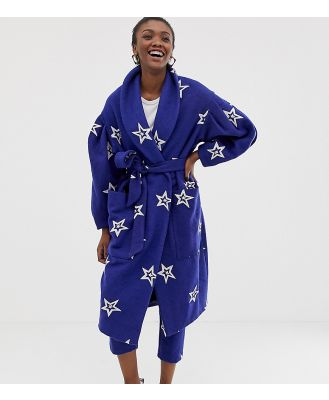 ASOS Made In Kenya star embroidered coat in wool mix - Blue
