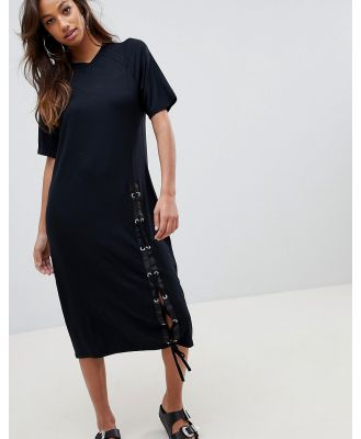 ASOS Midi T-Shirt Dress With Lace Up-Black