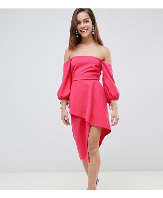 ASOS PETITE Bardot Midi Dress With Tiered Wrap Skirt-Pink