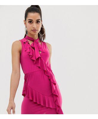 ASOS PETITE Ruffle Mini Bodycon Dress with Bow Neck - Pink