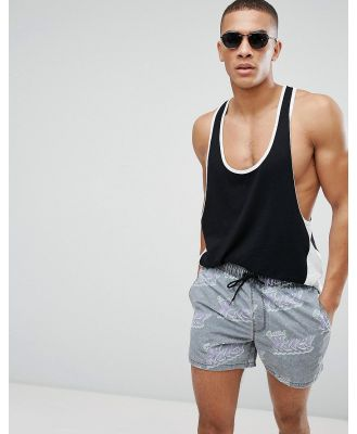 ASOS Swim Shorts In Get Wavey Print In Short Length - Grey