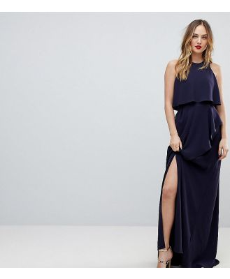 ASOS TALL Crop Top Thigh Split Maxi Dress - Navy
