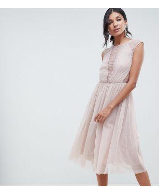 ASOS TALL Lace Insert T-shirt Midi Dress-Pink