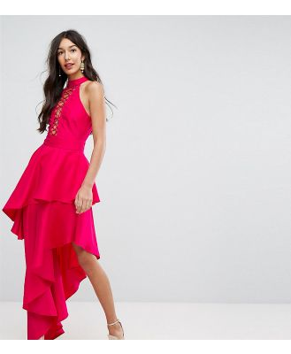 ASOS TALL Sexy Lace Up Tiered Maxi Dress-Pink