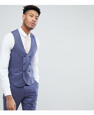 ASOS TALL WEDDING Slim Suit Waistcoat in Deep Blue 100% Merino Wool