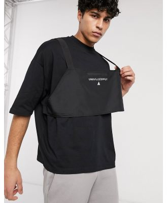 ASOS Unrvlld Spply oversized T-shirt with body harness and logo in reflective print-Black