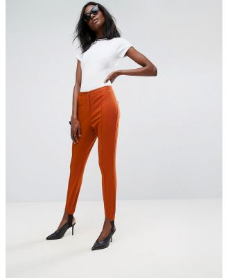 ASOS Washed Skinny Pants with Stirrup Detail-Red