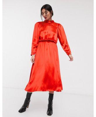 ASOS WHITE high neck satin open back midi dress-Red