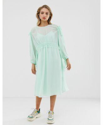 ASOS WHITE plain ruched waist midi dress-Multi