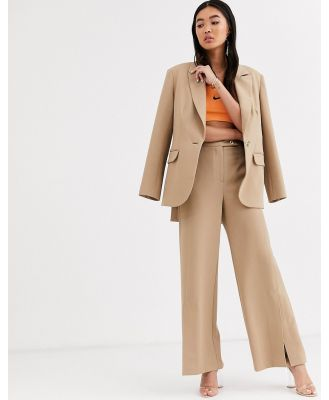ASOS WHITE twill tailored split front pant-Brown
