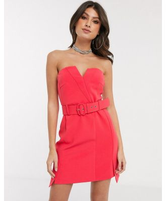 4th + Reckless bandeau dress with buckle detail in raspberry-Pink