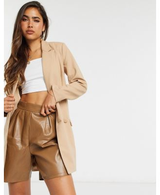 4th + Reckless eyelet buckle detail blazer dress with belt in camel-Brown